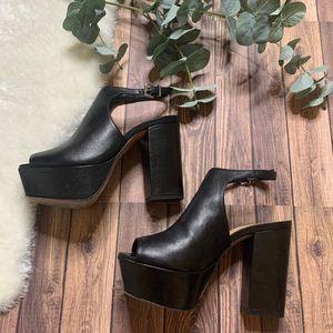 Schutz Clog Leather Sandal Black Heel